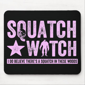Squatch Watch - Pink Distressed Grunge Letters Mouse Pads