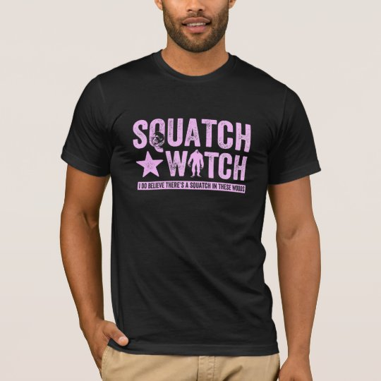 Squatch Watch - Pink Distressed Grunge Letters T-Shirt