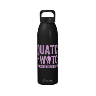 Squatch Watch - Pink Distressed Grunge Letters Water Bottles