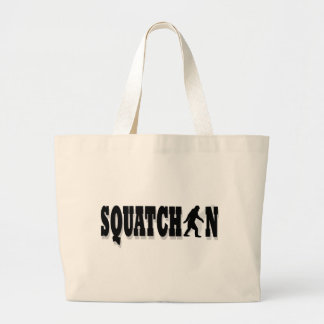 Squatchin, black text large tote bag