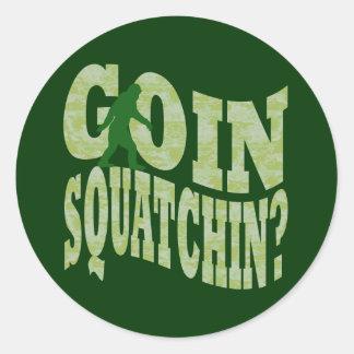 ¿Squatchin de Goin texto y camo verde Etiquetas Redondas