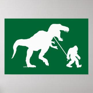 Squatchin ido con T-rex Póster