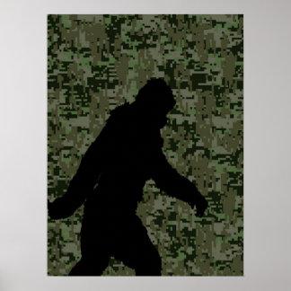 Squatchin ido para en el camuflaje verde oliva de póster