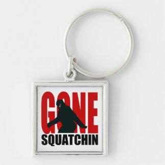 Squatchin ido (rojo y negro) llavero cuadrado plateado