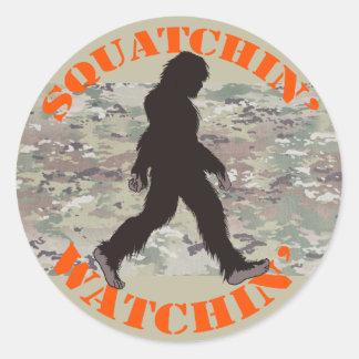 Squatchin' Watching Two Classic Round Sticker