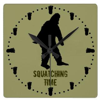 Squatching Time Bigfoot  Footprints Custom Clock