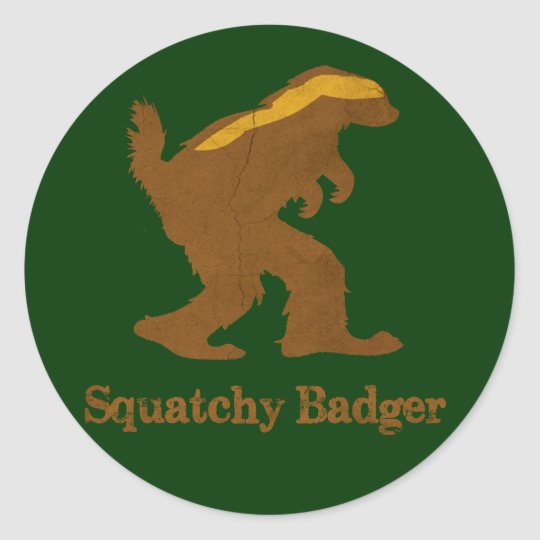 Squatchy Badger Classic Round Sticker