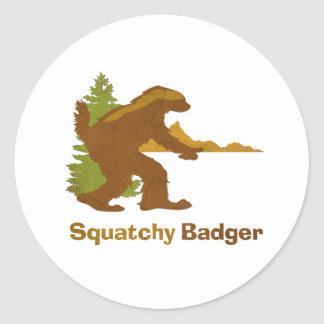 Squatchy Badger (vintage) Classic Round Sticker