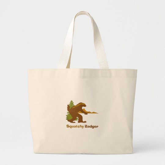 Squatchy Badger (vintage) Large Tote Bag