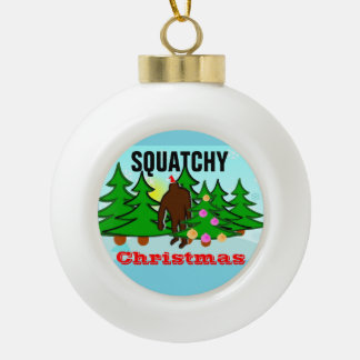 Squatchy Christmas Bigfoot Tacky Christmas Ceramic Ball Christmas Ornament