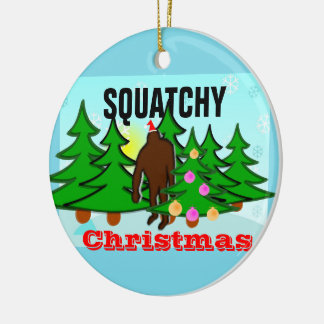 Squatchy Christmas Sasquatch Tacky Christmas Double-Sided Ceramic Round Christmas Ornament