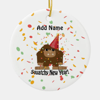 Squatchy New Year Ceramic Ornament