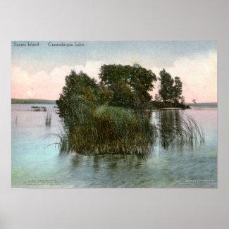 Squaw Island, Canandaigua Lake, NY Vintage print