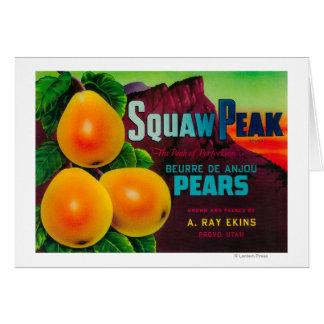 Squaw Peak Pear Crate LabelProvo, UT Card