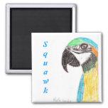 Squawk Parrot 2 Inch Square Magnet