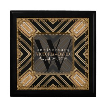 Squaza Art Deco Black Gold Wedding Anniversary Box