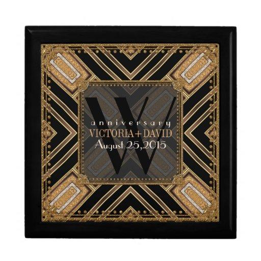 Squaza Art Deco Black Gold Wedding Anniversary Box