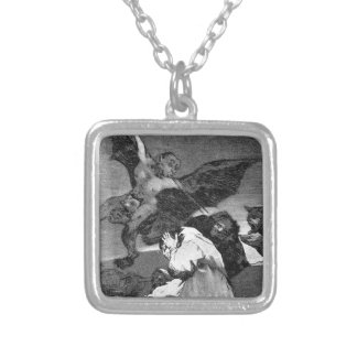 Squealers? by Francisco Goya Square Pendant Necklace