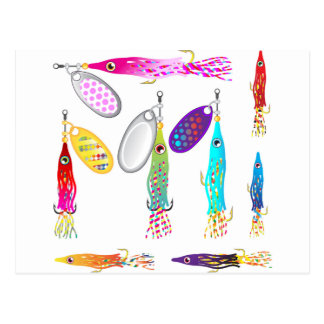 Squid Fishing lure Spinners Vectors Trolling lure Postcard