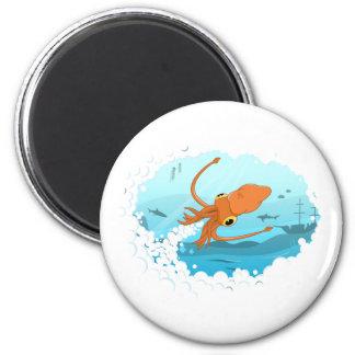 squid graphic design 2 inch round magnet