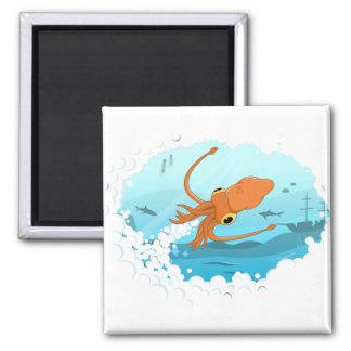 squid graphic design 2 inch square magnet