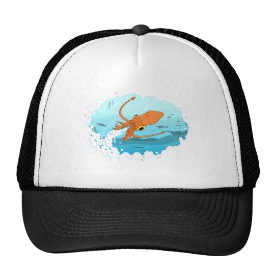 squid graphic design trucker hat