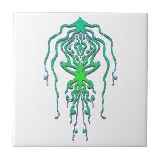 Squid Octopus Tribal Tattoo - green Ceramic Tile