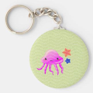 squid star fish hot summer basic round button keychain