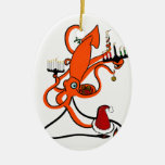 Squid Winter Holiday Double-Sided Oval Ceramic Christmas Ornament