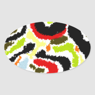 Squiggle Abstract Design Oval Sticker
