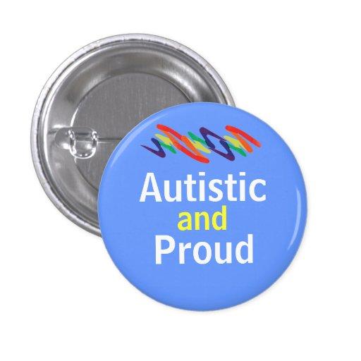 Squiggle autístico y orgulloso pin redondo de 1 pulgada