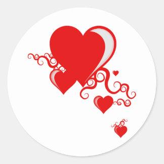 squiggle hearts classic round sticker