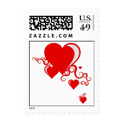 squiggle hearts. postage