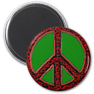Squiggle Peace Sign Fridge Magnets
