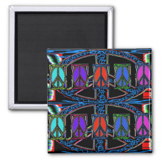 Squiggle Peace Sign Windows 2 Inch Square Magnet
