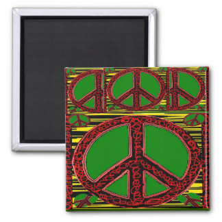 Squiggle Peace Sign with Heart 2 Inch Square Magnet