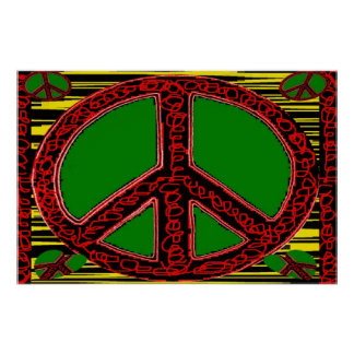 Squiggle Peace Sign with Heart Poster
