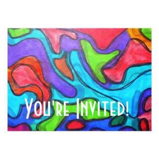 Squiggles desplazados - arte abstracto moderno invitación personalizada