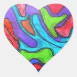 Squiggles desplazados - arte abstracto moderno pegatina en forma de corazón