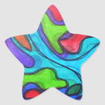 Squiggles desplazados - arte abstracto moderno pegatina en forma de estrella