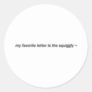 squiggly classic round sticker