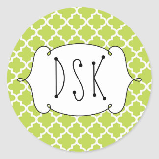 Squiggly fun green simple Moroccan tile monogram Classic Round Sticker