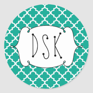 Squiggly fun teal simple Moroccan tile monogram Classic Round Sticker