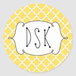 Squiggly fun yellow simple Moroccan tile monogram Classic Round Sticker