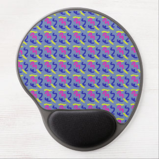 Squiggly Line Doodle Pattern Blue Grey Smooth Gel Mouse Pad