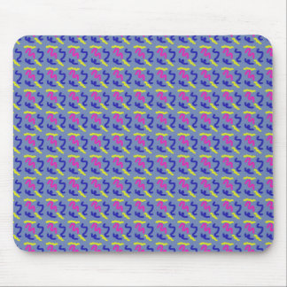 Squiggly Line Doodle Pattern Blue Grey Smooth Mouse Pad