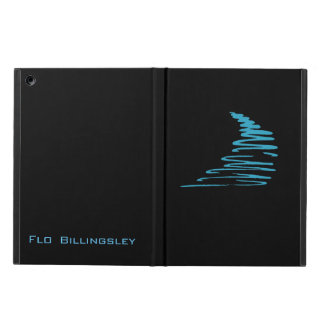 Squiggly Lines_aqua blue on black personalized iPad Air Cover