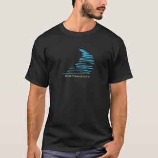 Squiggly Lines_Aqua Glow_San Francisco T-Shirt