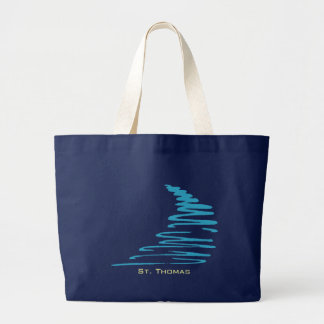 Squiggly Lines_Aqua Glow_St. Thomas Large Tote Bag