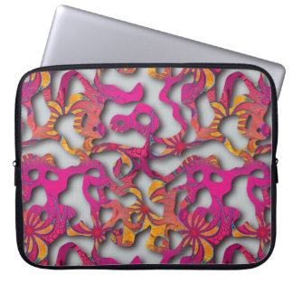 Squiggly Loops seamless pattern 14 + your backgr. Computer Sleeve